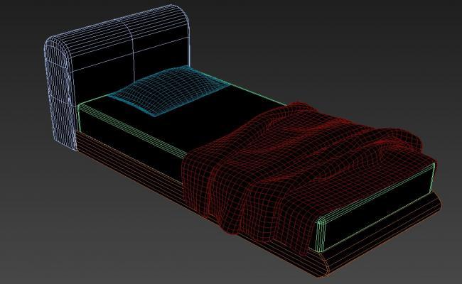 3D Soft Backrest Single Bed MAX File