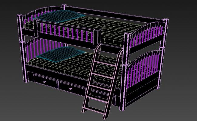 3D Space Saving Kids Twin Loft Bunk Bed With Drawer