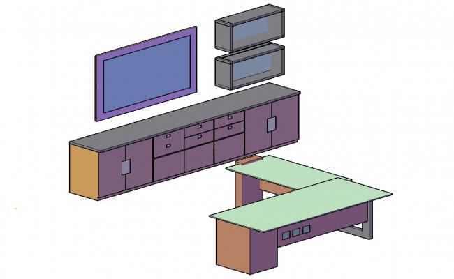 3D TV Unit DWG File