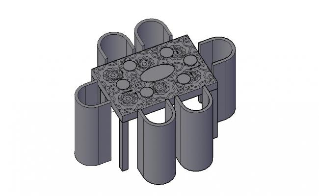 3D Table Chair Drawing In AutoCAD File