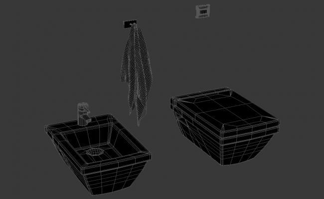 3D Toilet Tub With Bash Basin MAX Model