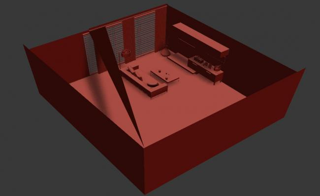 3D Top View Of Drawing Room In 3D MAX File Free