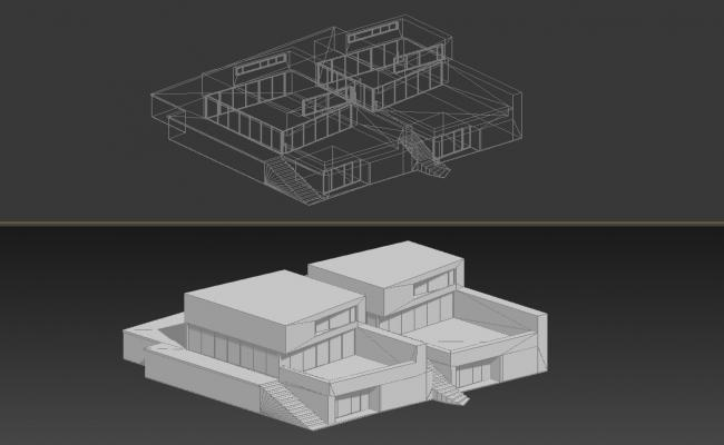 3D View Of Modern Twin Bungalow In 3D MAX File Free