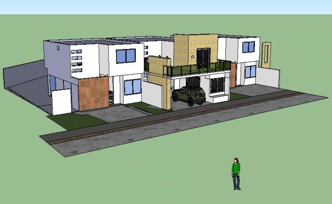 3D View of house with materials specification in SketchUp file