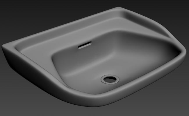 3D Wall Hang Wash Basin MAX File