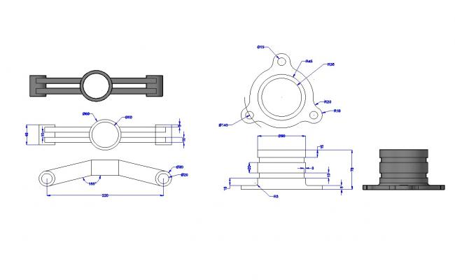 3D Wall Mount Pipe Clamp Bracket AutoCAD File