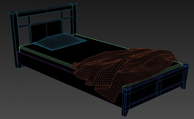 3D Wooden Storage Bed With Backrest MAX File