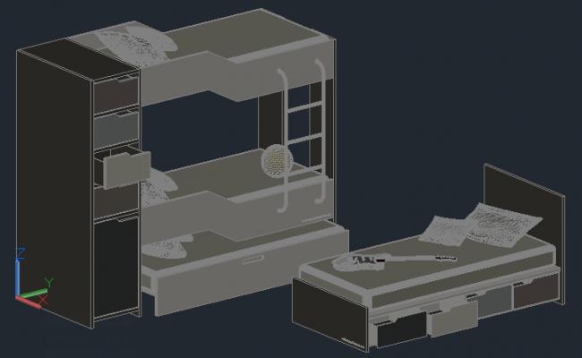 3D bedroom cabin