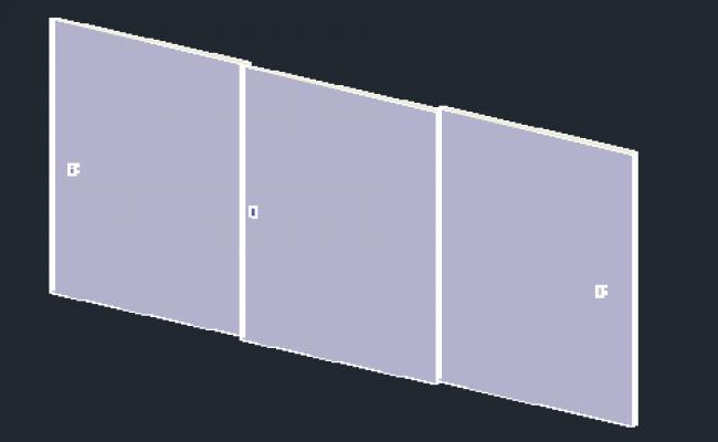 3D block of wardrobe closet 2.5x3m wooden design drawing