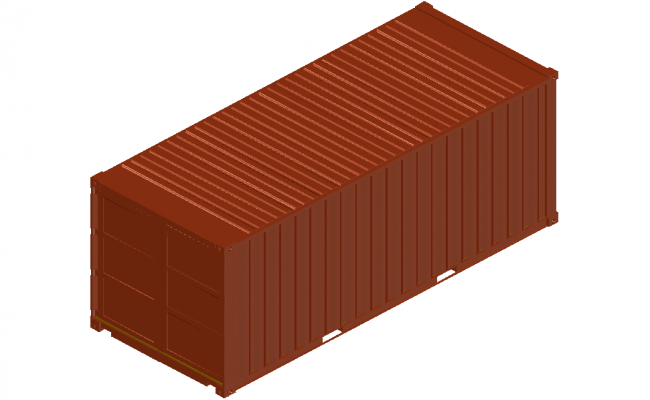 3D container of 20 feet with metallic structure view dwg file