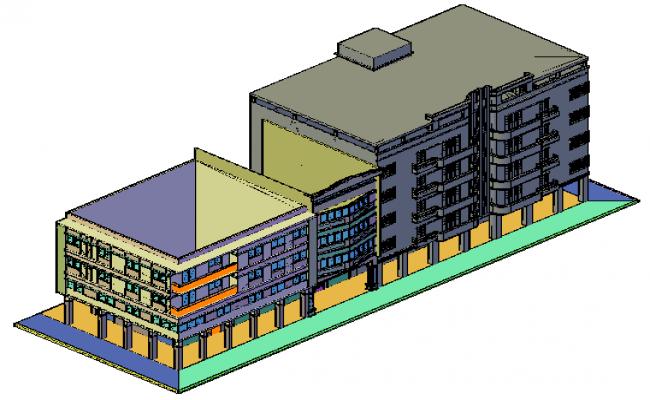 3D design drawing of Apartment and flat block housing design