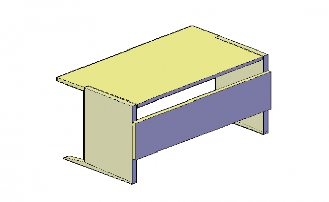 3D design drawing of Office table design drawing