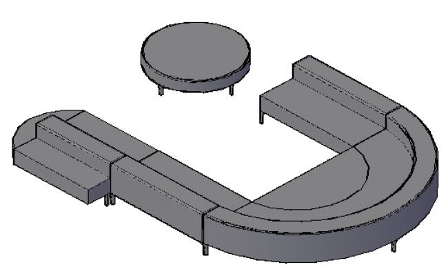 3D design drawing of U shape sofa design