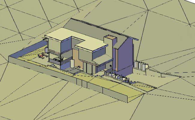 3D design drawing of modern house