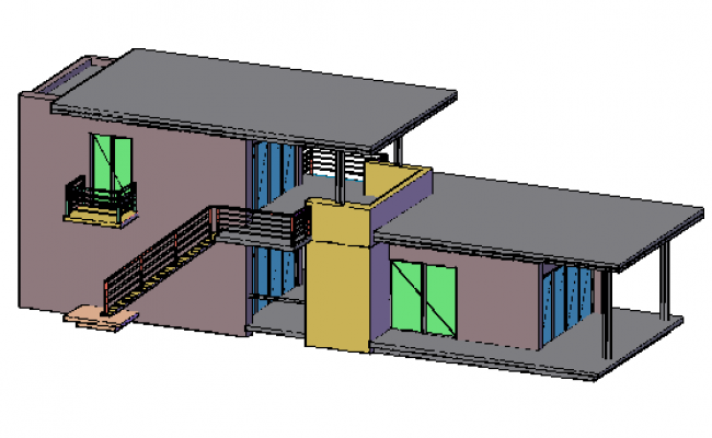 3D design drawing of single family house design drawing