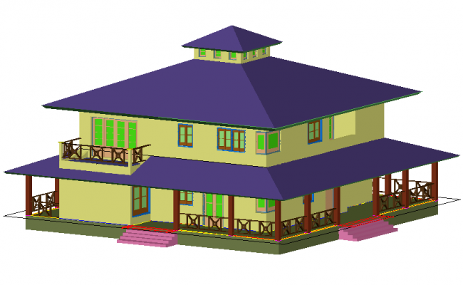 3D design of house with architectural view dwg file