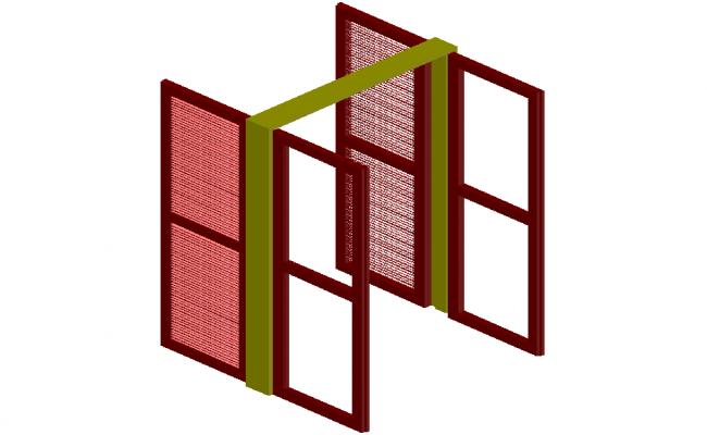 3D design with door and window view