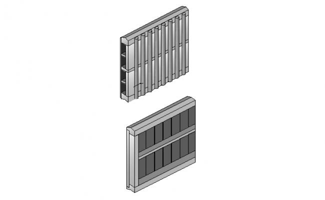 3D detail of a wooden frame dwg file