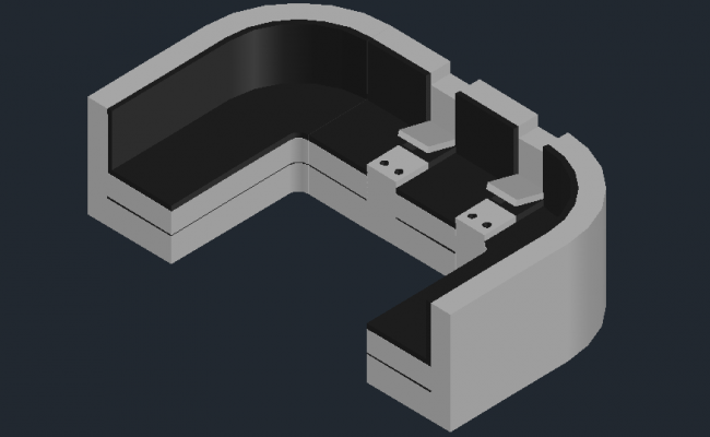 3D drawing curvilinear sofa in autocad