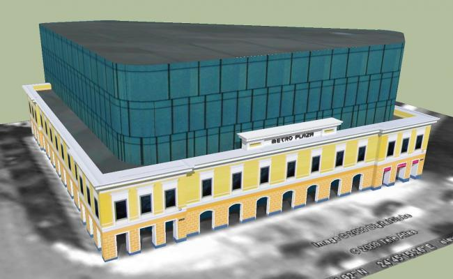 3D drawing of a commercial complex in skp file
