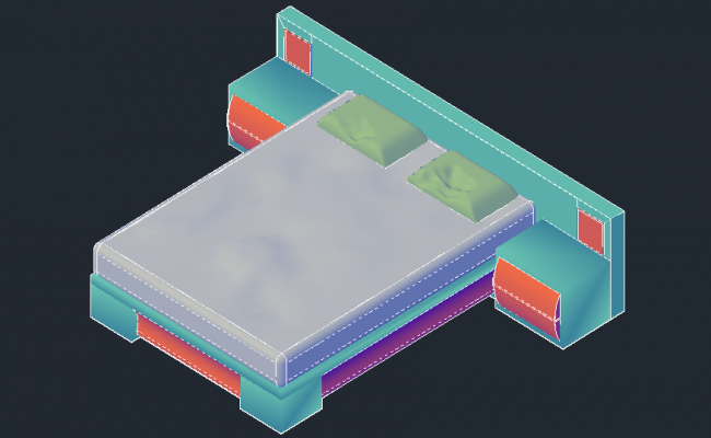 3D drawing of a double bed in AutoCAD