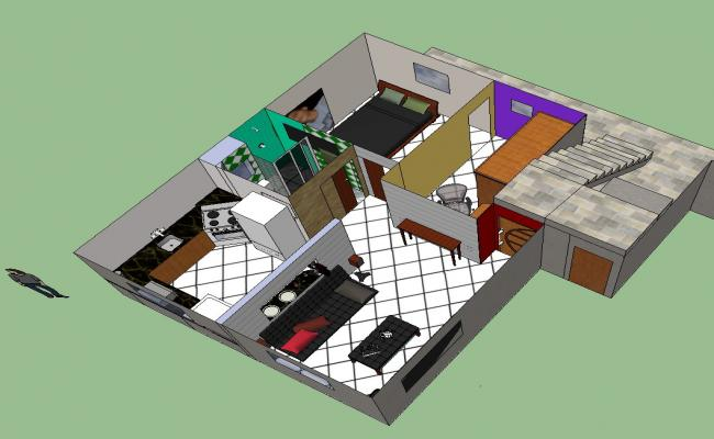 3D drawing of a residential house in SketchUp