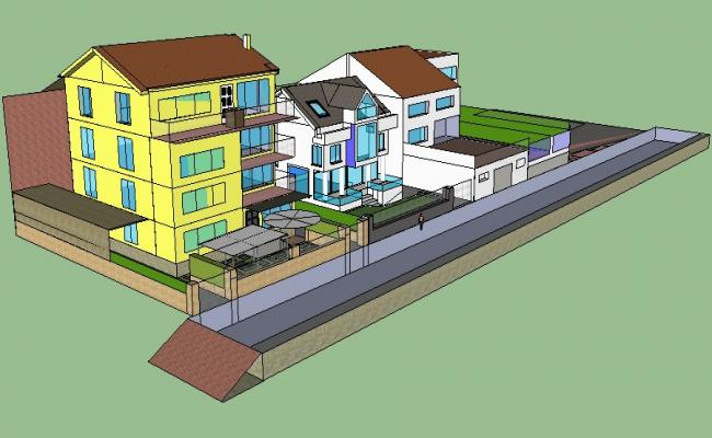 3D drawing of bungalows in skp file