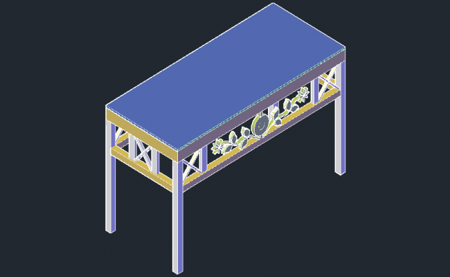 3D drawing of center table in dwg file