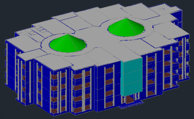 3D drawing of commercial building in dwg file