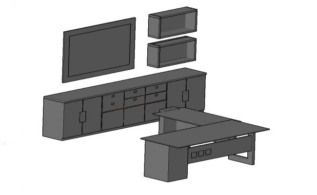 3D drawing of desk