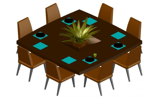 3D drawing of dining table in dwg file