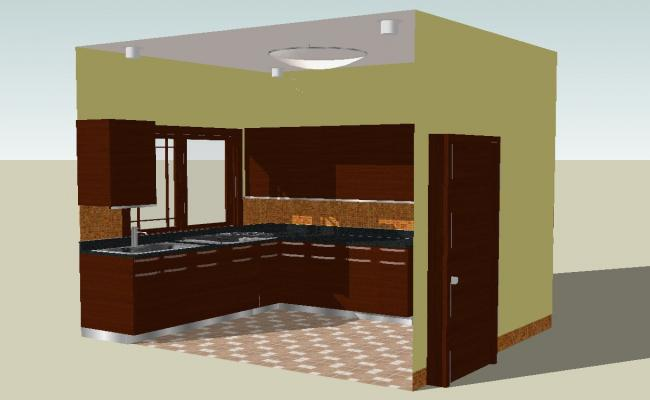 3D drawing of kitchen model