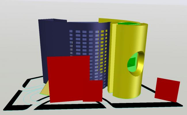 3D drawing of office building in autocad