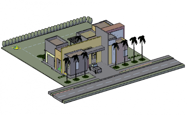 3D drawing of residential bungalow design drawing
