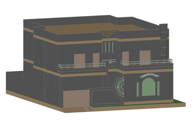 3D drawing of residential bungalow in dwg file