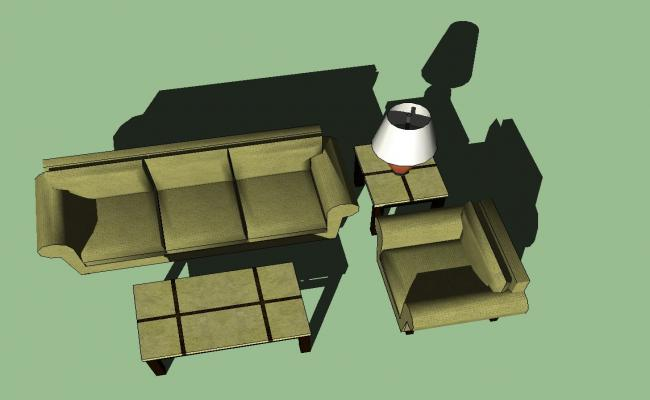 3D drawing of sofa set in sketchup