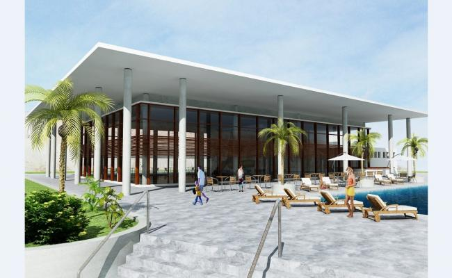 3D drawing of swimming pool area