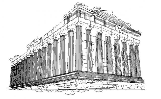 3D drawing of the architectural monument
