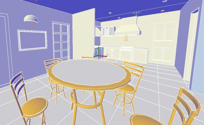 3d Dining Room Design In AutoCAD File