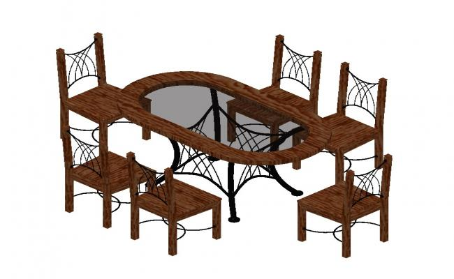 3D drawing of the dinning table in AutoCAD