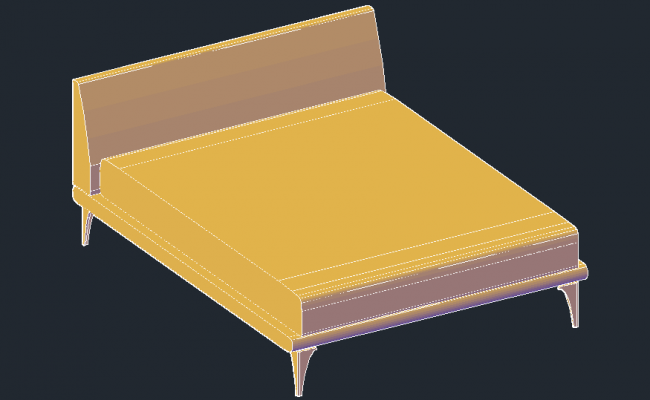 3D drawing of the double bed in AutoCAD