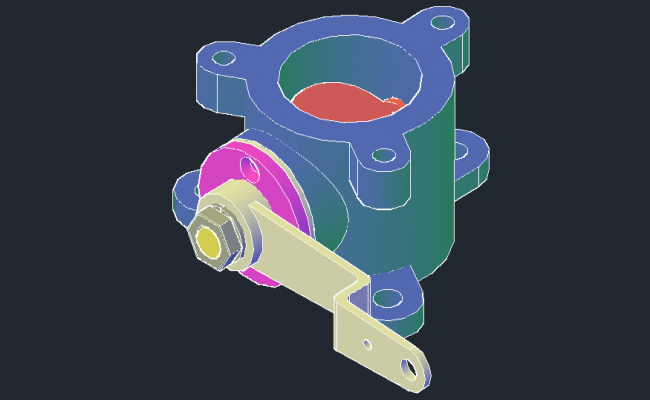 3D drawing of the flanged valve in Autocad