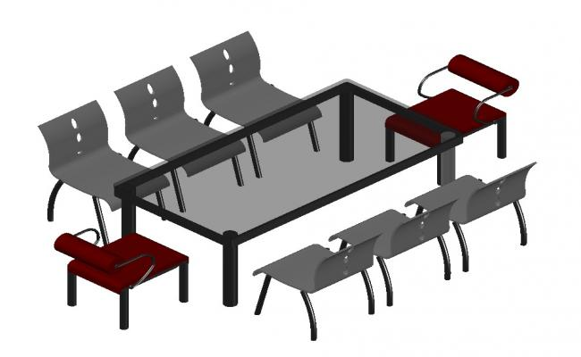 3D drawing of the minimalist dining table in dwg file