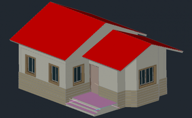 3D drawing of the residential bungalow in AutoCAD