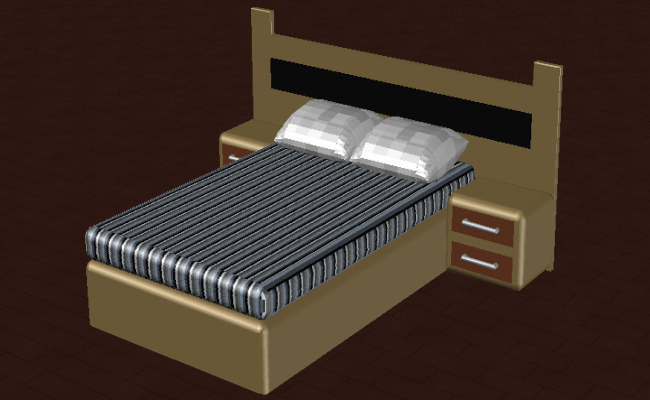 3D drawing of the single bed in autocad