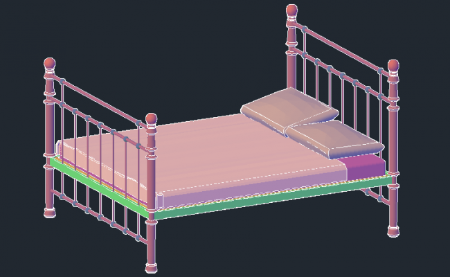 3D drawing of traditional bed
