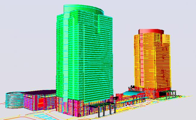 3D elevation design of a big office building dwg file