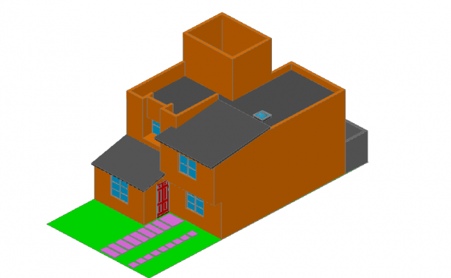 3D elevation of house dwg file