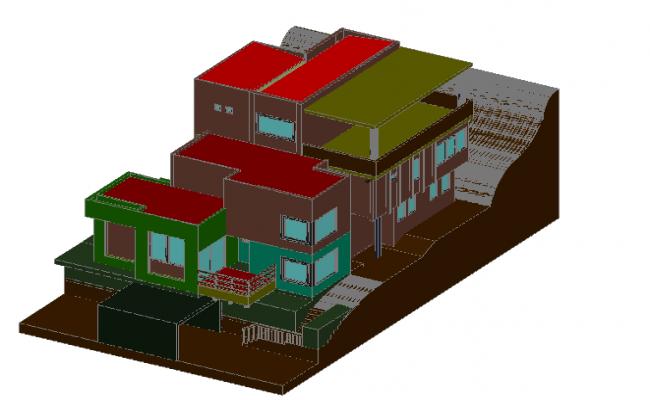 3D hill side home details