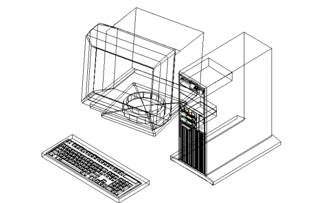 3D image of a computer with keyboard and CPU
